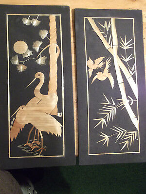 Pair of Asian Birds Scene pictures  Made with Bamboo Circa 1970's