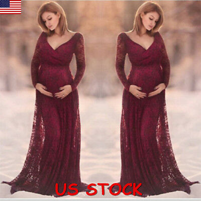 b11972ec9ef USA Pregnant Women Lace Maternity Long Gown Maxi V Neck Dress Photography  Props