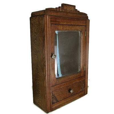 Vintage hand Carved Oak Medicine Wall Cabinet Apothecary Pediment Beveled Glass