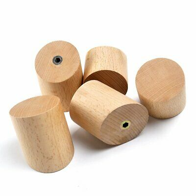 5pcs Solid Oak Wooden Wall Hook Door Bathroom Peg Hallway Coat Hanger Round AU