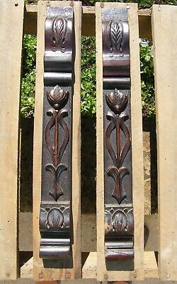 Reclaimed Pair Carved Wooden Panels Art Nouveau