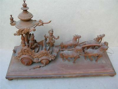 Fine large antique Indian carved chariot and horses.