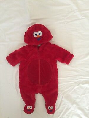 Size 000 Elmo Hooded Romper One Piece