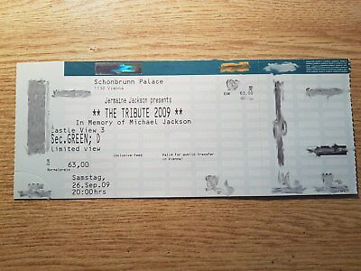 MICHAEL JACKSON original ticket In Memory of Michael Jackson Vienna ULTRA RARE