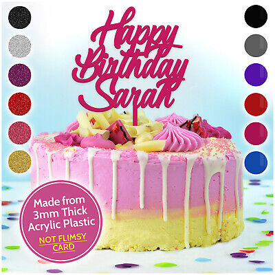 Happy Birthday Cake Topper ANY NAME PERSONALISED Decoration Party CUSTOM Acrylic