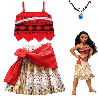 UK Moana Costume Hawaiian Princess Fancy Cosplay Dress&Necklace 3-11Y Outfit