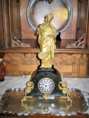 Antique French Mystery clock with Bronze statue Goddess Phoebe, Chronos' sister.