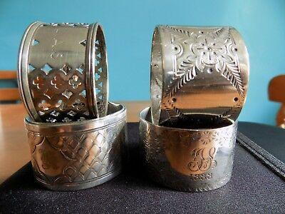 4 Vintage Silver Napkin Rings - Ornate Napkin Rings - Dated 1888 - Initialled