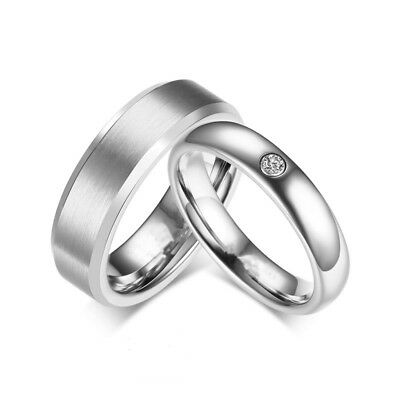 316L Stainless Steel CZ Silver Band Men Women's Couple Rings Engagement Fashion