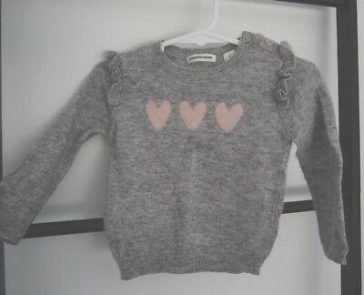 COUNTRY ROAD baby girl hearts light grey knit sweater jumper sz 0 6-12 months