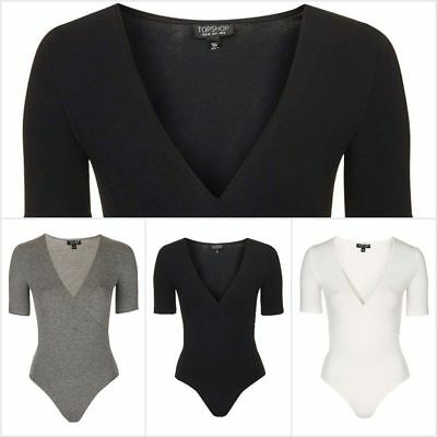 1cc614010d NEW Ex Topshop Women's Wrap Front Body Half Sleeve Bodysuit Leotard Top RRP  £18