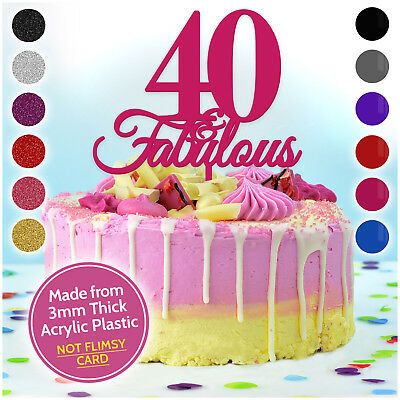 PERSONALISED 40 Forty and Fabulous Custom Topper for ANY AGE Birthday Cake
