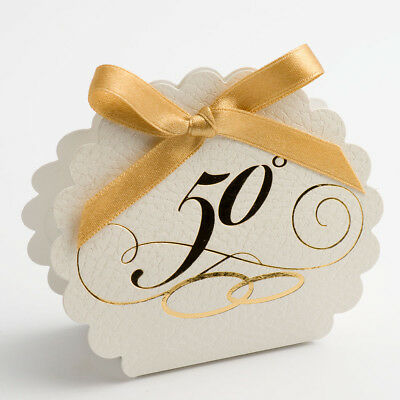 Scalloped Edge Favours - White Pelle 50th Anniversary Boxes - Pack of 10