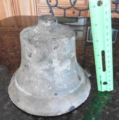 Vintage Bell Cast brass or bronze ? bell large school church bell 6.5Lbs Antique
