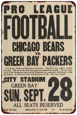 1930 Chicago Bears vs. Green Bay Packers Vintage Reproduction Metal sign 8 x 12