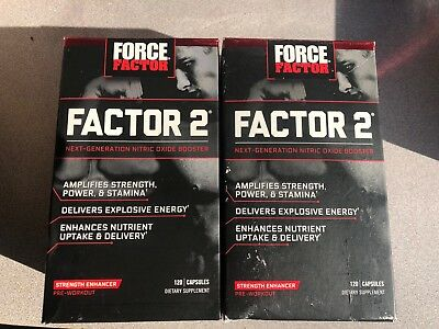 Lot Of 2 Force Factor Factor 2 Pre-Workout Nitric Oxide Booster 120 Caps  10-17
