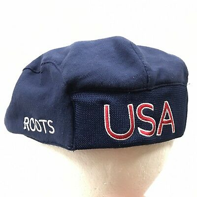 Roots Canada Olympic Hat Newsboy Cabbie Cap S M Blue 2004 USA Summer  Olympics 60d488ce90f5