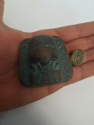 Antique Unique Egyptian old Amulet Ancient Beetle Rare Scarab Statue.