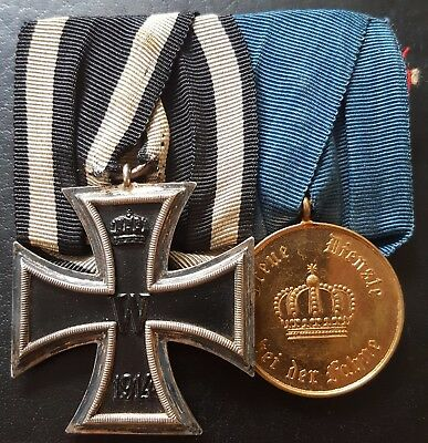 ✚7713✚ German Prussian WW1 mounted medal group Iron Cross Service Medal 12 Year