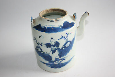 19th Century Antique Chinese Porcelain Blue & White Character Figure Teapot