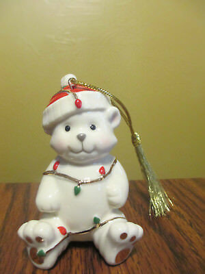 Very Merry Teddy Bear Christmas  Porcelain 24K Gold Lenox Ornament 3 1/2""