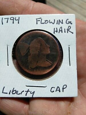 1794  with 93 head 1C S-59 Head of 1794 BN Flowing Hair Large Cent