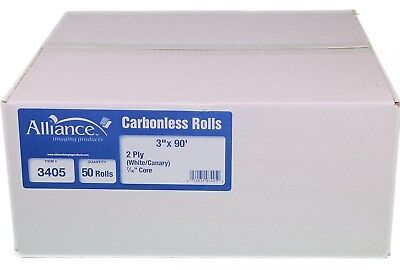 "Alliance 2-Ply Carbonless Receipt Rolls, 3""x90', White/Canary, 50 Rolls"