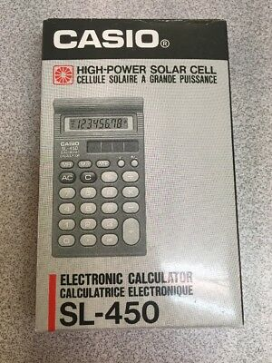 VINTAGE Casio Electronic Calculator SL-450 HIGH-POWER SOLAR CELL 8-DIGIT LCD NEW