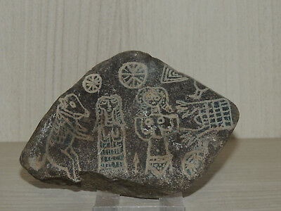 Antique Stone Fragment with Hittite,Sumerian drawings Relief
