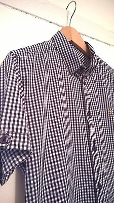 Men's Vintage FARAH Short Sleeve Check Shirt. Small. Dark Blue/White