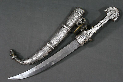 Antique Moroccan silver plated Koumya dagger - Late 19th early 20th century