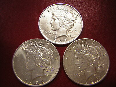 Lot of 3 Peace Silver Dollars  / 1923 1922  1926-s  /  U S Coins 123