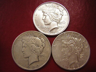 Lot of 3 Peace Silver Dollars  / 1922 1923 1926-s  /  U S Coins 128