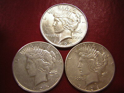 Lot of 3 Peace Silver Dollars  / 1923 1925-s 1926-s  /  U S Coins 130