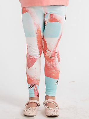 Girls Flamingo Leggings Kids Summer Trouser Bottoms Pink Blue Age 2-8 New