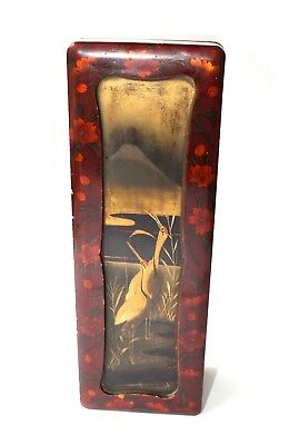 Antique Japanese Lacquered Glove Box Mount Fuji & Cranes Hinged 30x10x7.5cm