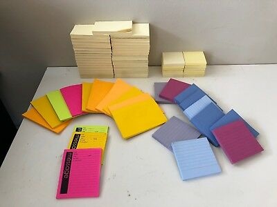 Post-it Notes Massive Lot 3x5 3x3 4x4 4x5 4x7 over 69 pads ~1000s of notes