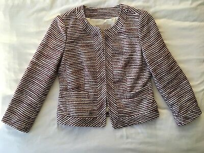Banana Republic - Women Red/White Striped Tweed Blazer Size 4 PETITE +FAST SHIP
