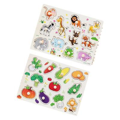 Wooden Animal Vegetable Shaped Peg Puzzle Baby Kids Educational Learning Toy