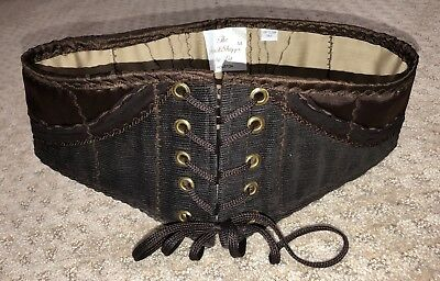 Brown Renaissance Steampunk Costume Underbust Corset Pirate Wench Waist Cincher