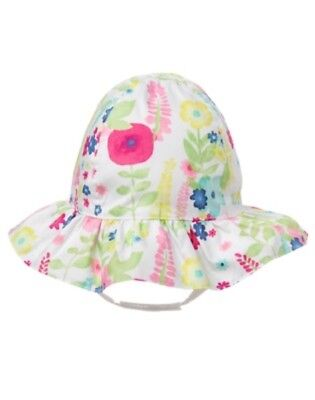 GYMBOREE MEOW & ROAR WHITE w/ FLOWERS PRINTED SUN HAT 0 6 12 18 24 NWT
