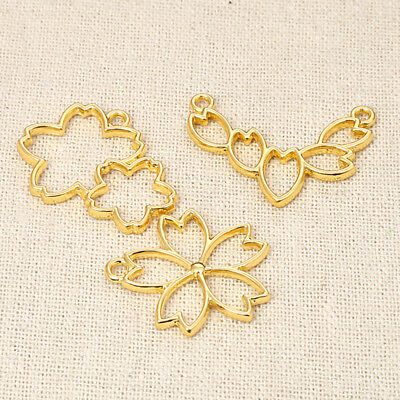 5pcs Gold Cherry Flowers Hollow Bezel Metal Frame Pendant Cherry Blossoms Charms