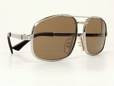 VINTAGE UVEX AVIATOR PILOT HEAVY SUNGLASSES CHROME WEST GERMANY 1970s VERY RARE