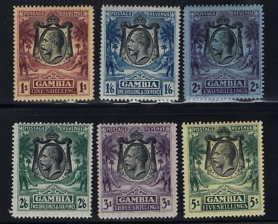 1922-29 Gambia. SC#113a/119, SG#134/141. Mint, Lightly Hinged, VF.