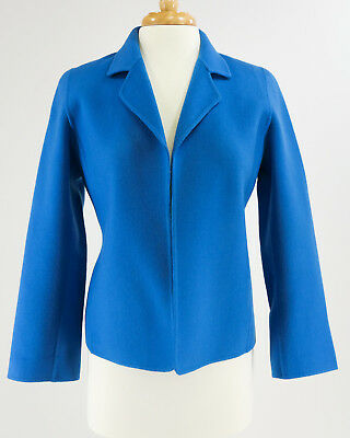 LINDA ALLARD Ellen Tracy Blue Wool Business Career Open Front Blazer Sz 8 Petite