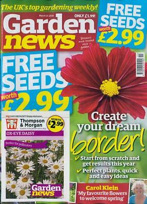 GARDEN NEWS MAGAZINE ISSUE 17th MARCH 2018 WITH 2 x PACKS OF SEEDS ~ NEW ~