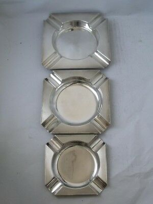 Matching Set of 3 Solid Sterling Silver Ash Trays 1932 & 1947/ 292 g