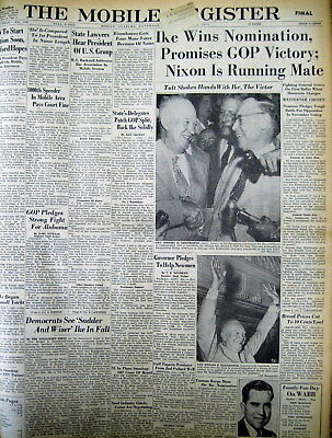 Lot of 5 1952 newspapers REPUBLICAN Nat Convention NOMINATES DWIGHT D EISENHOWER