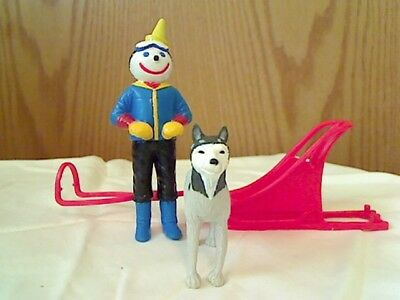 """Jack In The Box Action Figure """"DOG SLED JACK"""" with HUSKY DOG & SLED - Complete !"""
