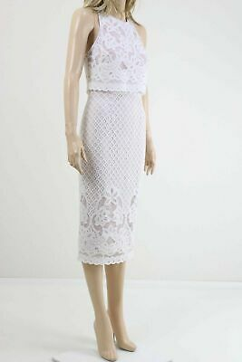Asos Women's White/Nude Lace Midi Cocktail Party Dress in Crochet UK SIZE 10 38